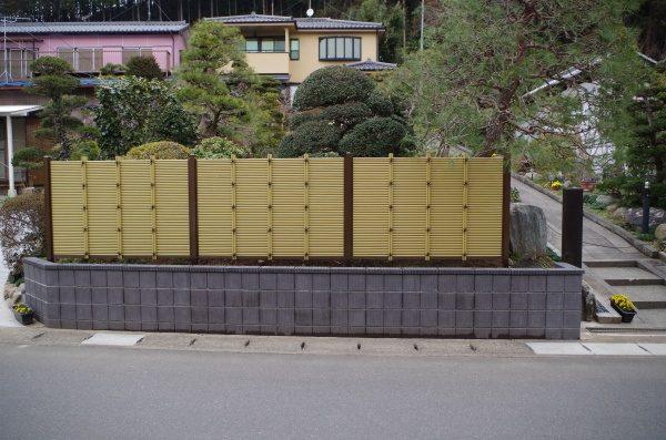 ブロック工事と御簾垣設置工事